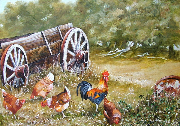 Chooks Painting - Meals And Wheels by Val Stokes