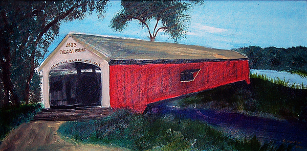 Covered Bridge Painting - Mecca Covered Bridge by Andrea Harston