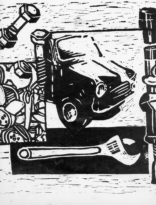 Mini Relief - Mechanical Linoprint by Tom  Layland