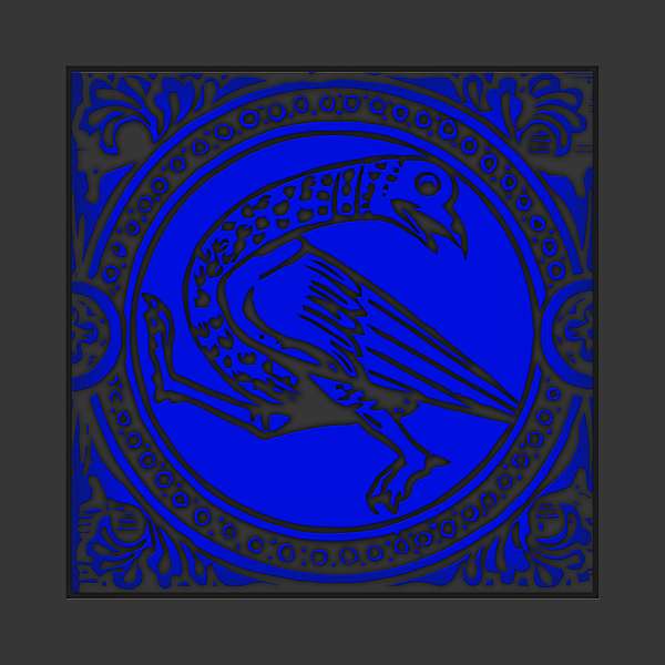 Digital Print Digital Art - Mediaeval Bird Revision - Blue by Li   van Saathoff