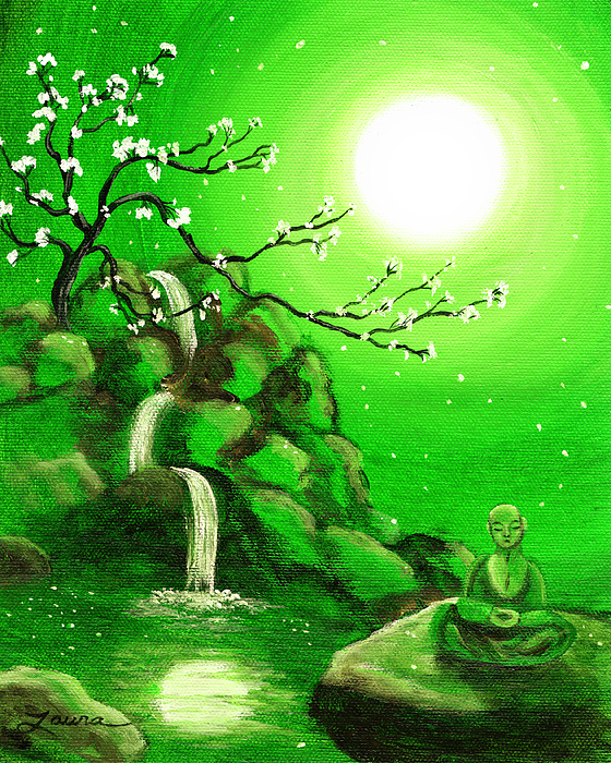 Landscape Painting - Meditating While Cherry Blossoms Fall In Green by Laura Iverson