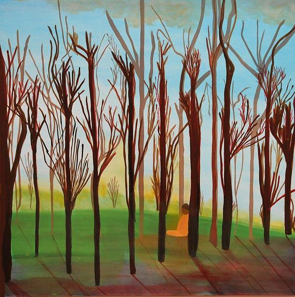 Landscape Painting - Meditation In The Forest by Aviva Moshkovich
