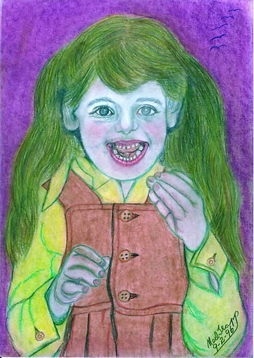 Child Drawing - Meesha Motormouth by Neil Trapp
