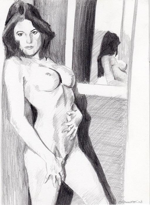 Nude Drawing - Megan-mirror by Stephen Panoushek