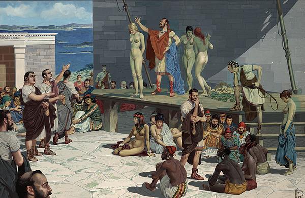 Illustration Photograph - Men Bid On Women At A Slave Market by H.M. Herget