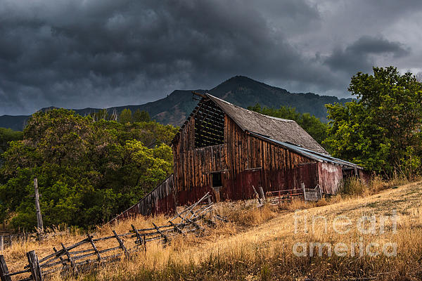 Storm Photograph - Mendon Utah Barn In Storm by Gary Whitton