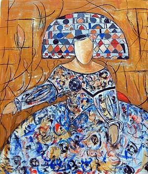 Menina En Ocre Y Azul Painting by Soledad  Fernandez