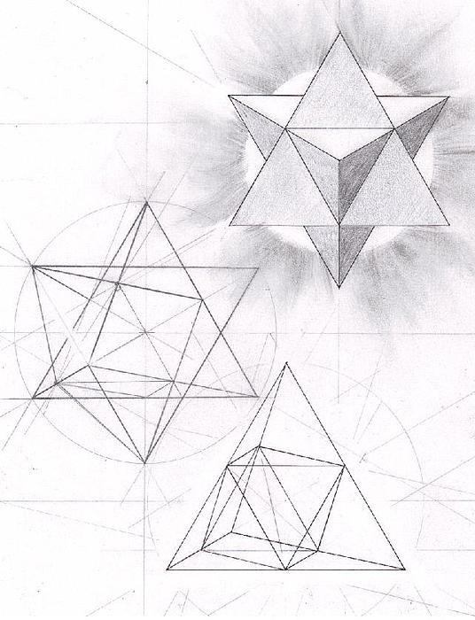 Sacred Geometry Drawing - Merkabah Study II by Geoffroy Dextraze