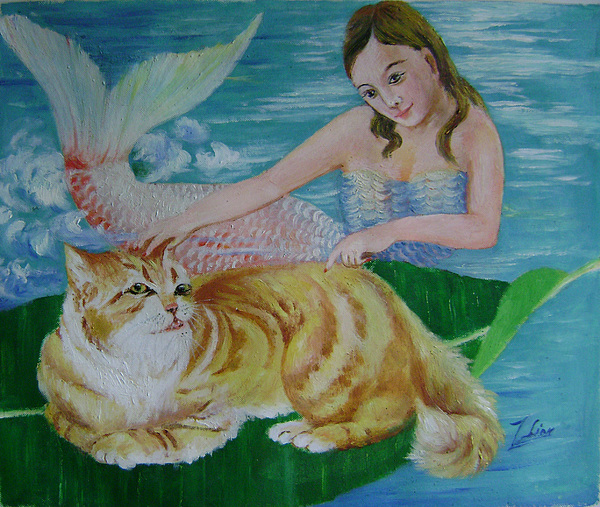 Fantasy Painting - Mermaid And Cat by Lian Zhen