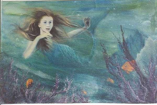 Mermaid Painting - Mermaid And Garibaldi by Louise Johnson