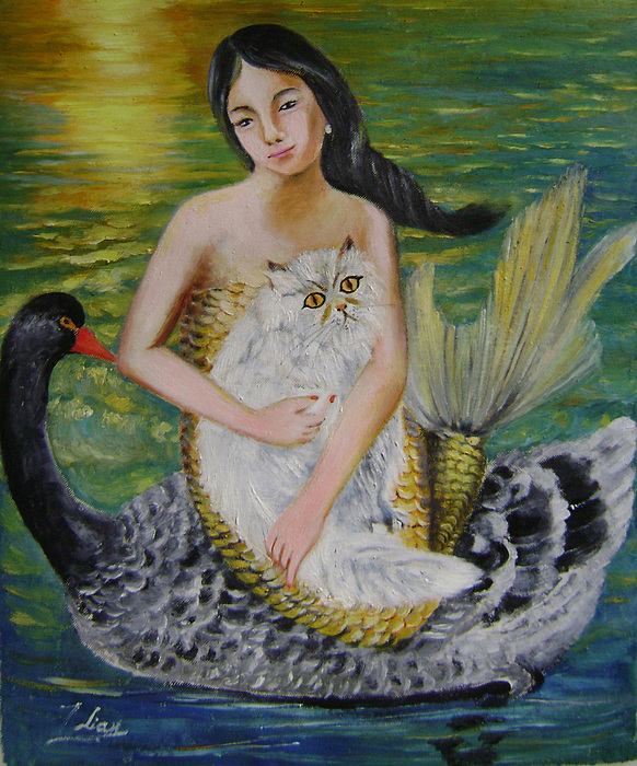 Surrealist Painting - Mermaid And Swan by Lian Zhen