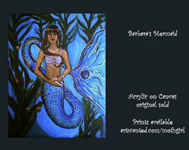 Blue Painting - Mermaid Guardian by Ana M  Berry