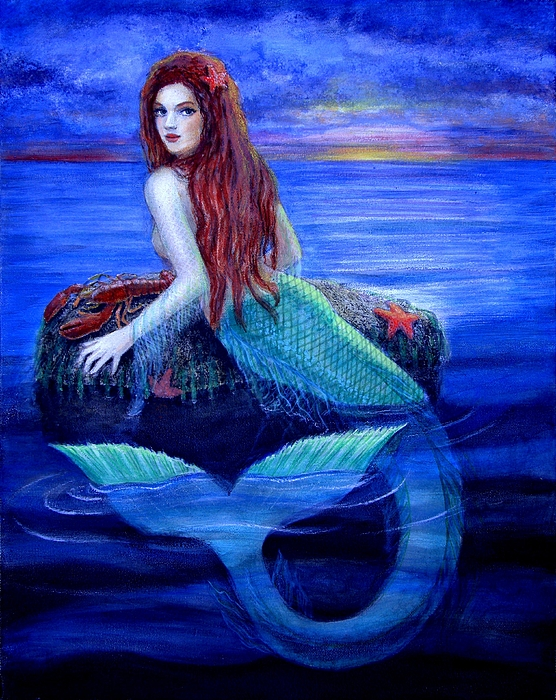 Mermaid Painting - Mermaids Dinner by Sue Halstenberg