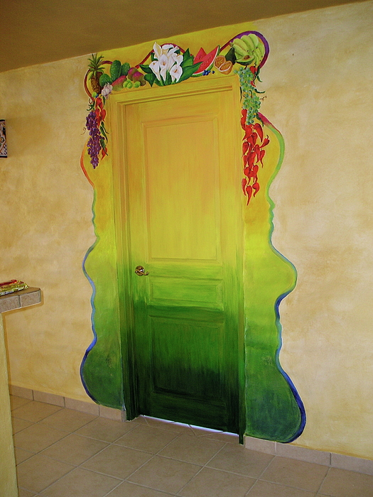 Green Painting - Mexican Blanket Door Mural by Patty Rebholz
