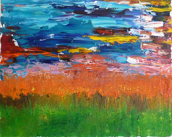 Abstract Landscape Painting - Mexican Sunset by Peter Silkov