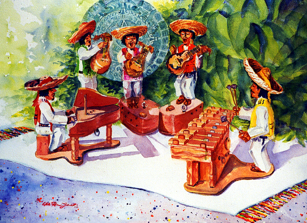 Transparent Watercolor Painting - Mexico Mariachis by Estela Robles