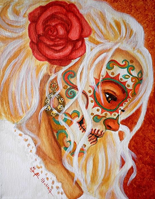 Dia De Los Muertos Painting - Mi Mente Me Lleva De Nuevo A Usted  by Al  Molina