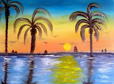 Miami Evening Painting by Sheldon Morgan