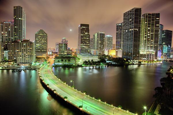 Horizontal Photograph - Miami Skyline At Night by Steve Whiston - Fallen Log Photography