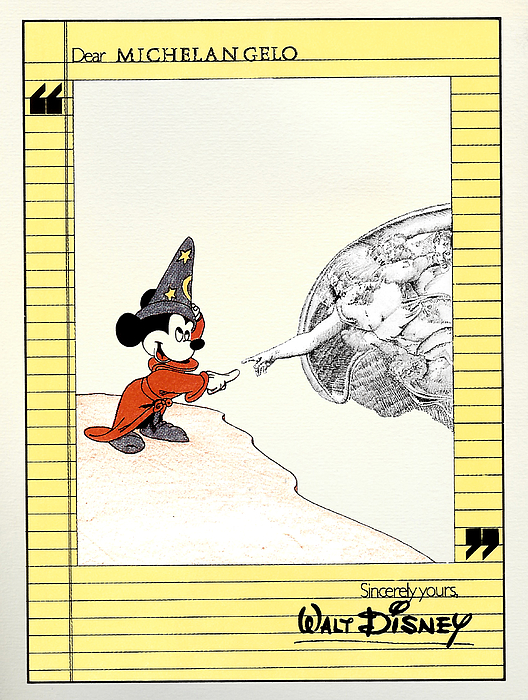 Mickey Mouse Painting - Michelangelos Creation Of Mickey by Turtle Caps