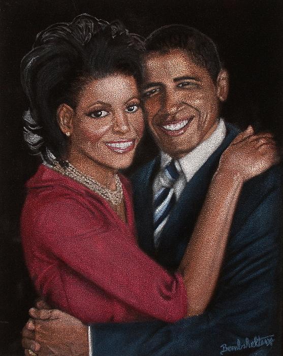 Black Velvet Painting - Michelle And Barack by Diane Bombshelter