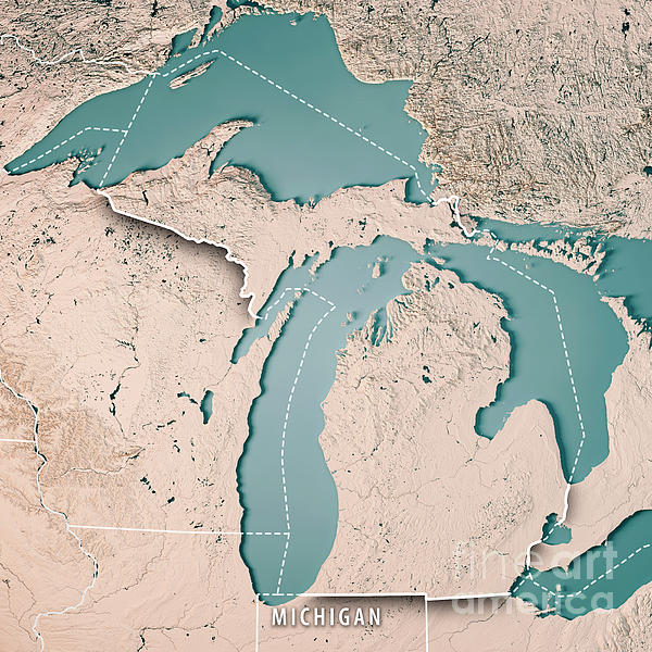 Michigan State Usa D Render Topographic Map Neutral Border - Michigan state map usa