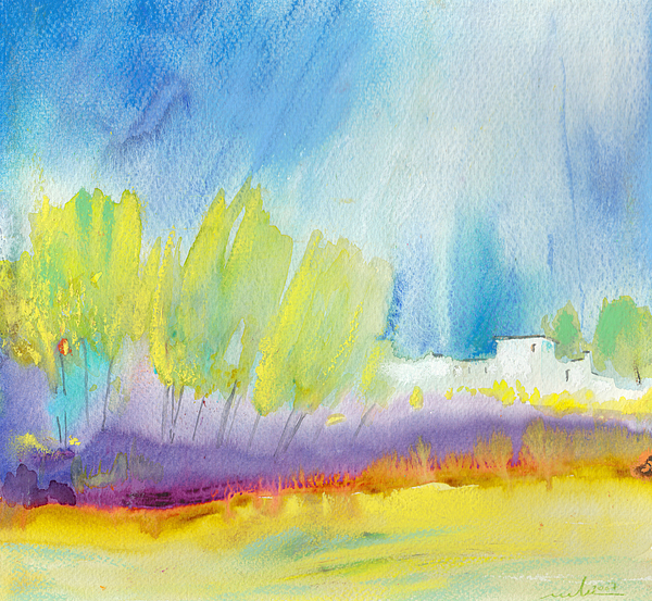 Watercolour Landscape Painting - Midday 08 by Miki De Goodaboom