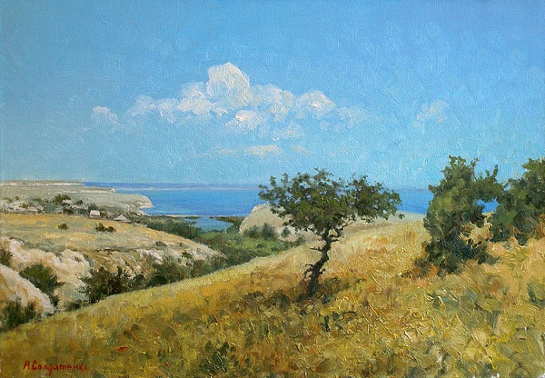 Landscape Painting - Midday On The Volga by Andrey Soldatenko