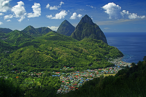 St Lucia Photograph - Midday- Pitons- St Lucia by Chester Williams