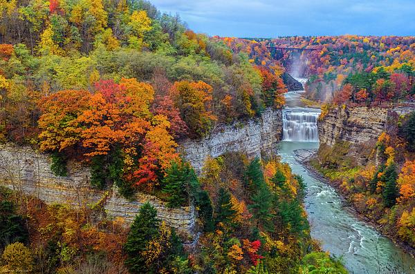 Horizontal Photograph - Middle Falls Peak by Mark Papke