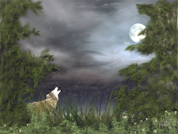 Wolf Painting - Midnight Blue by Barb Kirpluk