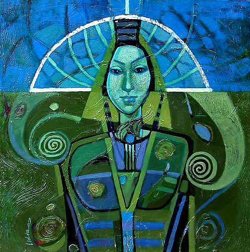 Portret Painting - Midnight Blue by Lidia Simeonova