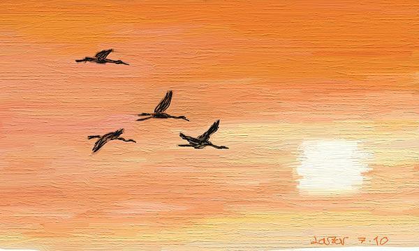 Wildlife Digital Art - Migratory Birds by Lazar Caran