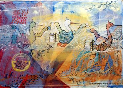 Flying Birds Painting - Migratory by Liliana Beatriz Arnillas