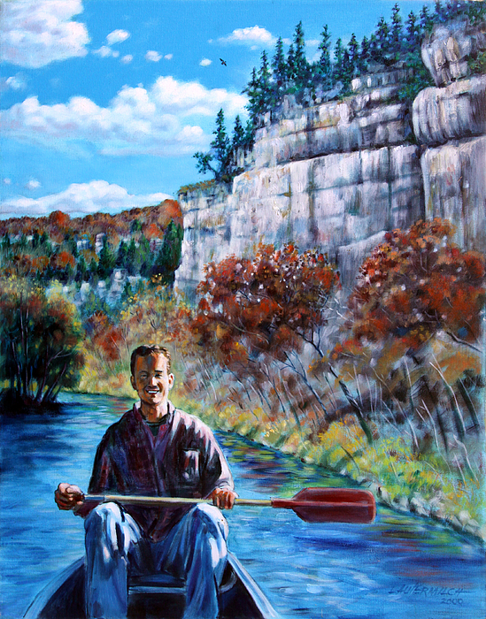 Float Trip Painting - Mike On Float Trip by John Lautermilch