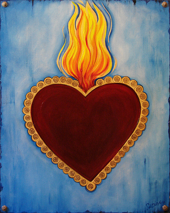 Heart Painting - Milagro by Sabina Espinet