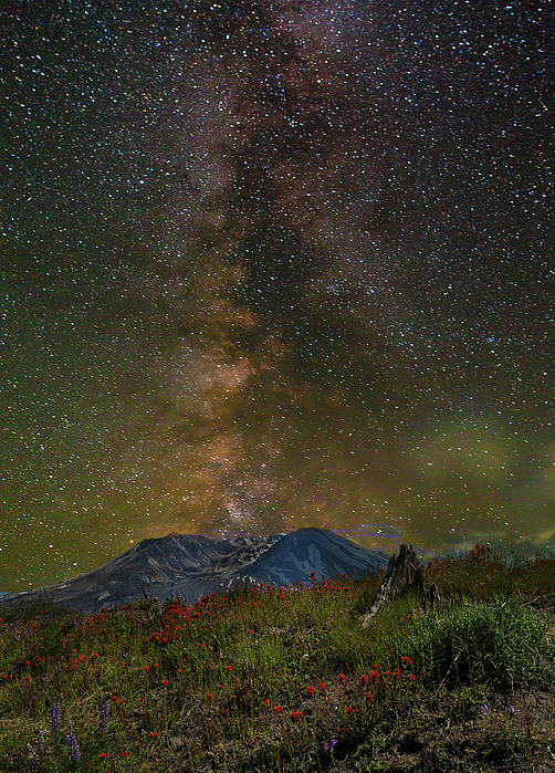 Mount Saint Helens Photograph - Milky Way Over Mount St Helens by David Gn