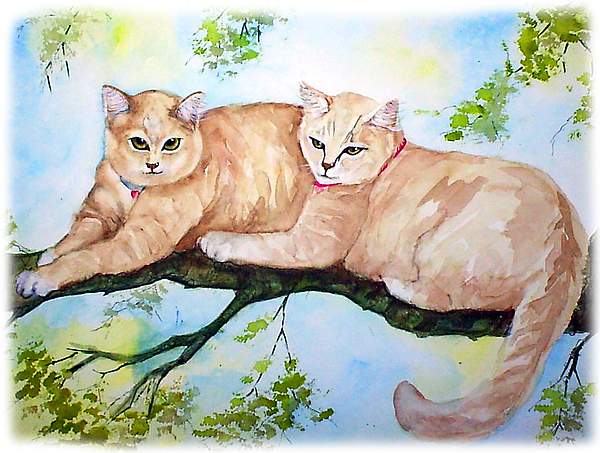 Feline Painting - Milo And Timon by Gina Hall