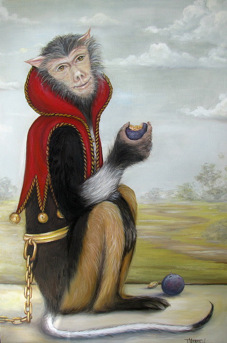 Monkey Painting - Milo In Red Vest by Judy Merrell