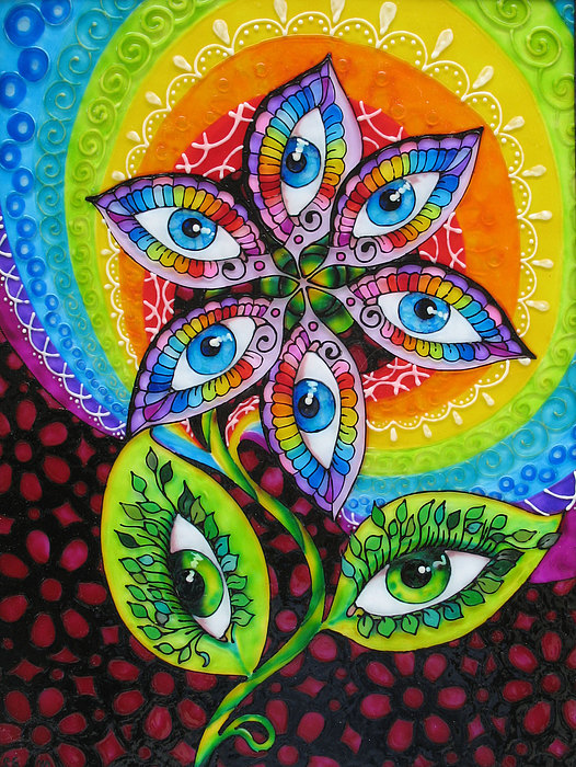 Glass Painting Painting - Mind Eyes by Gabriela Stavar