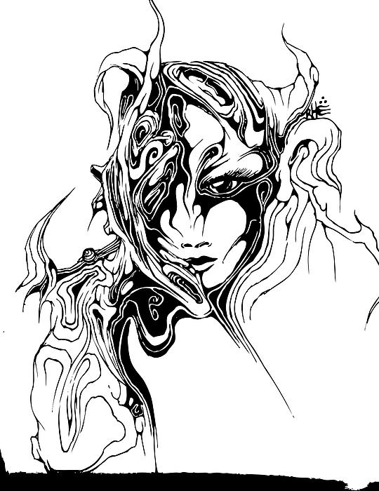Face Drawing - Mind Melt by Trevor DeLaVergne