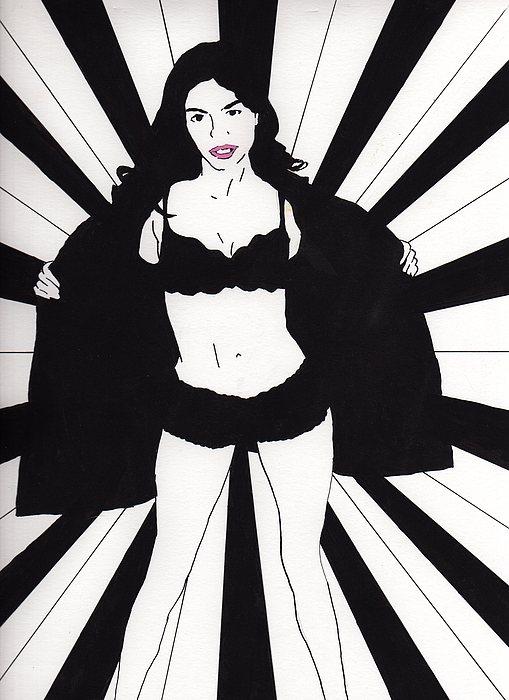 Mindy - Flash Drawing by Stephen Panoushek