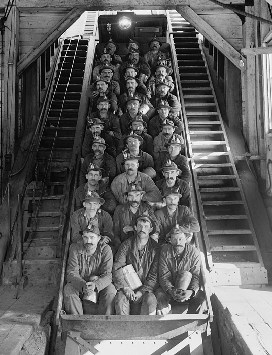 History Photograph - Miners In An Open Tram At The Calumet by Everett