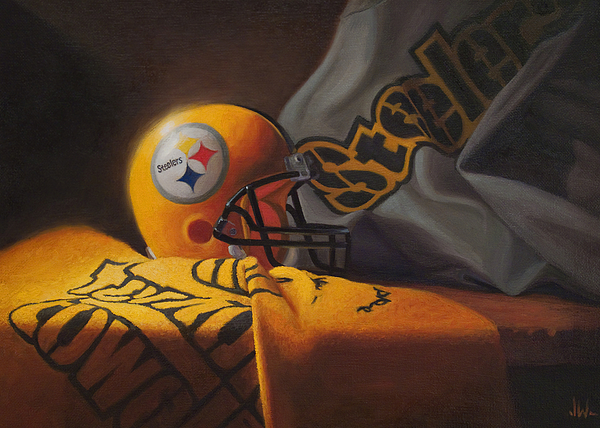 Steelers Painting - Mini Helmet Commemorative Edition by Joe Winkler