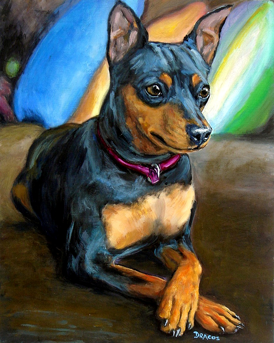 Miniature Pinscher Painting - Miniature Pinscher Formal by Dottie Dracos