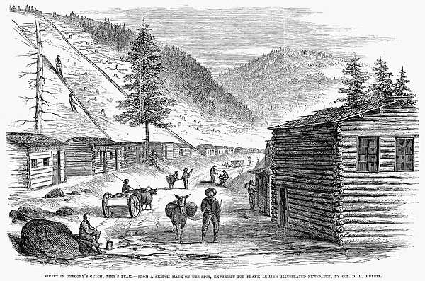 1860 Photograph - Mining Camp, 1860 by Granger