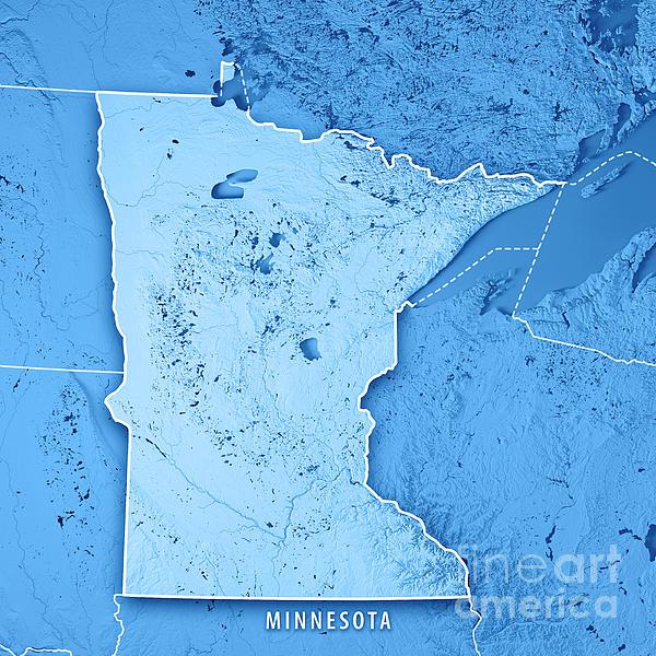 Minnesota State Usa D Render Topographic Map Blue Border Digital - Usa map minnesota