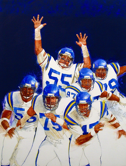 Acrylic Painting Painting - Minnesota Vikings Front Four  by Cliff Spohn