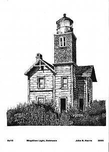 Mispillion River Lighthouse Drawing by John  R Harris