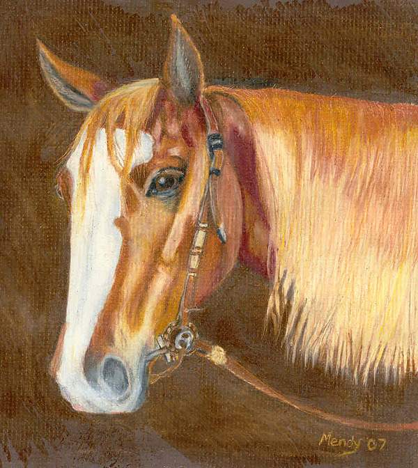 Horse Pastel - Miss Cow Chex by Mendy Pedersen